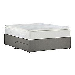 Sleepeezee - Light grey 'Lasting Memories Gold' flat weave divan bed with mattress and 2 drawers