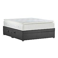 Sleepeezee - Dark grey 'Lasting Memories Gold' plush velvet side ottoman divan bed with mattress