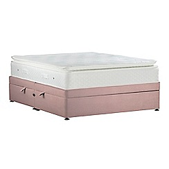 Sleepeezee - Light pink 'Lasting Memories Gold' plush velvet side ottoman divan bed with mattress