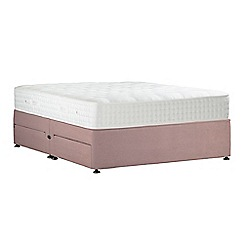 Sleepeezee - Light pink 'Natural Indulgence Silver' plush velvet divan bed with mattress and 4 drawers