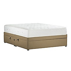 Sleepeezee - Camel 'Natural Indulgence Platinum' flat weave side ottoman divan bed with mattress