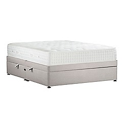 Sleepeezee - Light grey 'Natural Indulgence Platinum' plush velvet side ottoman divan bed with mattress