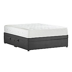 Sleepeezee - Dark grey 'Natural Indulgence Platinum' plush velvet side ottoman divan bed with mattress