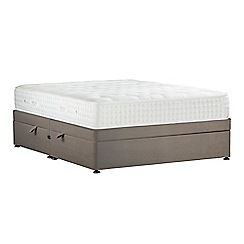 Sleepeezee - Camel 'Natural Indulgence Platinum' plush velvet side ottoman divan bed with mattress