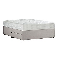 Sleepeezee - Light grey 'Perfectly Ortho Silver' plush velvet divan bed with mattress and 2 drawers