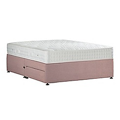 Sleepeezee - Light pink 'Perfectly Ortho Silver' plush velvet divan bed with mattress and 2 drawers