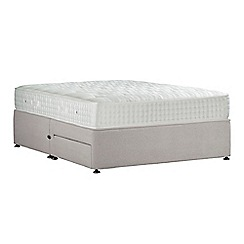 Sleepeezee - Light grey 'Perfectly Ortho Gold' plush velvet divan bed with mattress and 2 drawers