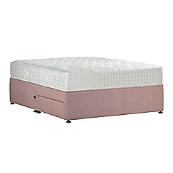 Sleepeezee - Light pink 'Perfectly Ortho Gold' plush velvet divan bed with mattress and 2 drawers