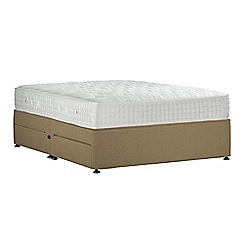 Sleepeezee - Camel 'Perfectly Ortho Gold' flat weave divan bed with mattress and 4 drawers