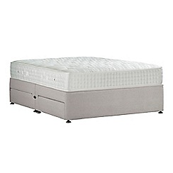 Sleepeezee - Light grey 'Perfectly Ortho Gold' plush velvet divan bed with mattress and 4 drawers
