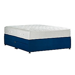 Sleepeezee - Navy 'Perfectly Ortho Gold' plush velvet divan bed with mattress and 4 drawers