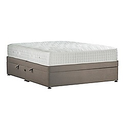 Sleepeezee - Camel 'Perfectly Ortho Gold' plush velvet side ottoman divan bed with mattress