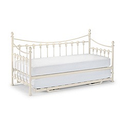 Julian Bowen - Off-white 'Etienne' single bed frame with guest bed and 'Platinum' mattresses
