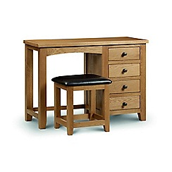Julian Bowen - Oak 'Newbury' 4 drawer dressing table with mirror and stool