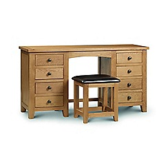 Julian Bowen - Oak 'Newbury' 8 drawer dressing table with mirror and stool