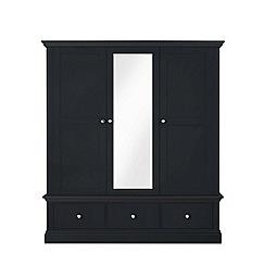 Corndell - Black 'Oxford' triple wardrobe with mirror