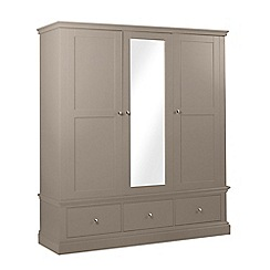 Debenhams - Dark grey 'Oxford' triple wardrobe with mirror