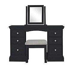 Corndell - Black 'Oxford' dressing table with mirror and stool