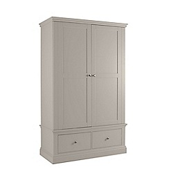 Debenhams - Taupe 'Oxford' double wardrobe with drawers