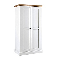 Debenhams - Oak and white 'Oxford' double wardrobe