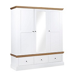 Debenhams - Oak and white 'Oxford' triple wardrobe with drawers