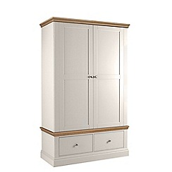 Debenhams - Oak and grey 'Oxford' double wardrobe with drawers