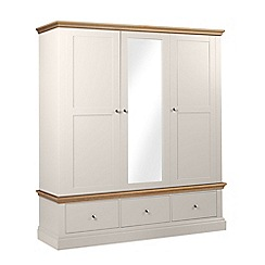 Debenhams - Oak and grey 'Oxford' triple wardrobe with drawers