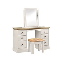 Debenhams - Oak and grey 'Oxford' dressing table with mirror and stool