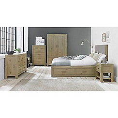 Debenhams - Oak 'Turin' bed frame with 4 drawers and upholstered headboard