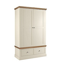 Debenhams - Oak and cream 'Oxford' double wardrobe with drawers