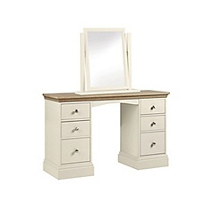 Debenhams - Oak and cream 'Oxford' dressing table with mirror