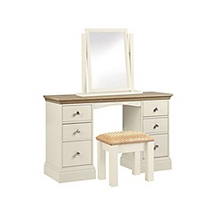 Debenhams - Oak and cream 'Oxford' dressing table with mirror and stool