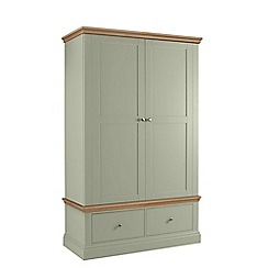 Debenhams - Oak and pale green 'Oxford' double wardrobe with drawers