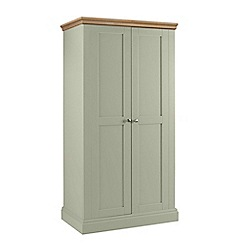 Debenhams - Oak and pale green 'Oxford' double wardrobe