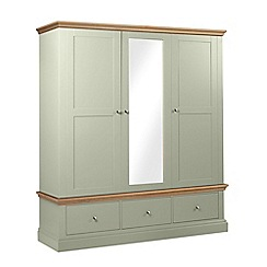 Debenhams - Oak and pale green 'Oxford' triple wardrobe with drawers