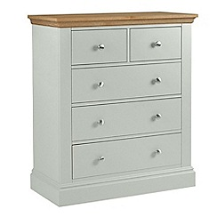 Debenhams - Oak and pale blue 'Oxford' 5 drawer chest