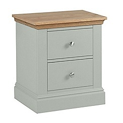 Debenhams - Oak and pale blue 'Oxford' bedside cabinet with 2 drawers