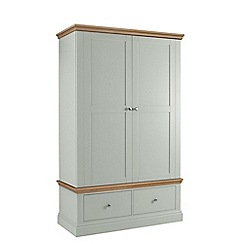 Debenhams - Oak and pale blue 'Oxford' double wardrobe with drawers