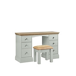 Debenhams - Oak and pale blue 'Oxford' dressing table with stool