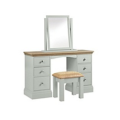 Debenhams - Oak and pale blue 'Oxford' dressing table with mirror and stool