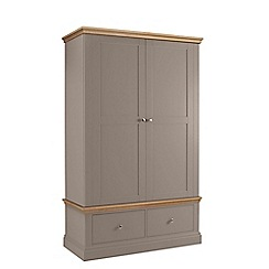 Debenhams - Oak and dark grey 'Oxford' double wardrobe with drawers