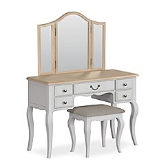 Corndell - Light grey 'Ascot' dressing table, mirror and stool set