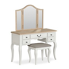 Corndell - Off white 'Ascot' dressing table, mirror and stool set