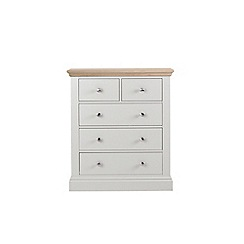Corndell - Lime oak and grey 'Oxford' 5 drawer chest