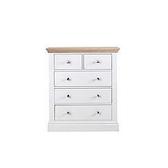 Corndell Lime oak and white 'Oxford' 5 drawer chest