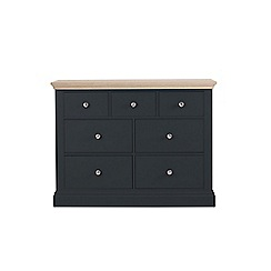 Corndell - Lime oak and black 'Oxford' 7 drawer chest
