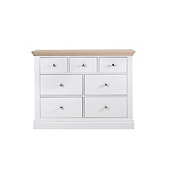 Corndell - Lime oak and white 'Oxford' 7 drawer chest