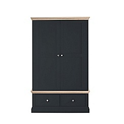 Corndell - Lime oak and black 'Oxford' double wardrobe with drawers