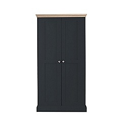 Corndell - Lime oak and black 'Oxford' double wardrobe