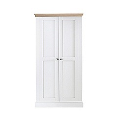 Corndell - Lime oak and white 'Oxford' double wardrobe